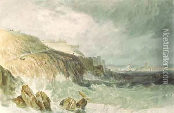 Plymouth Citadel, a gale Oil Painting - Joseph Mallord William Turner