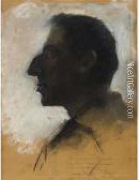Profile Of A Man: A Study For 'jerusalem' Oil Painting - Lesser Ury