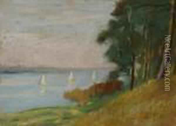 Lakefront. Ca. 1925 Oil Painting - Lesser Ury
