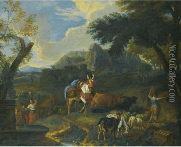 An Italianate Landscape With Women Carrying Water From A Well Oil Painting - Pieter van Bloemen