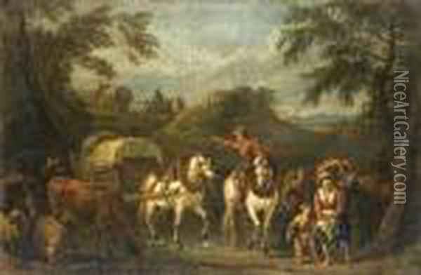 Travellers On Horseback With Cattle And Sheep On A Country Path Oil Painting - Pieter van Bloemen