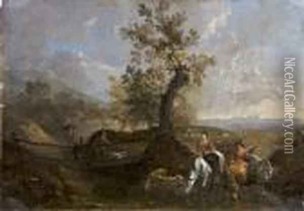 Drovers Watering Their Animals By A Footbridge In A Southern Landscape Oil Painting - Pieter van Bloemen