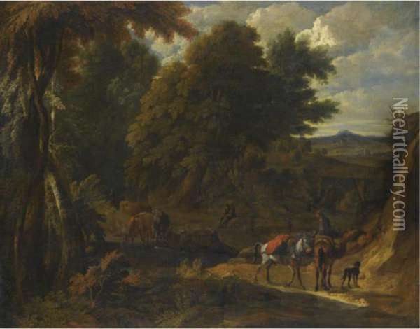 A Wooded Landscape With Herders And Their Animals On A Path Oil Painting - Pieter van Bloemen