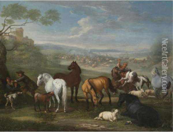 Herdsmen With Horses And Sheep In The Foreground, A Battle Beyond Oil Painting - Pieter van Bloemen