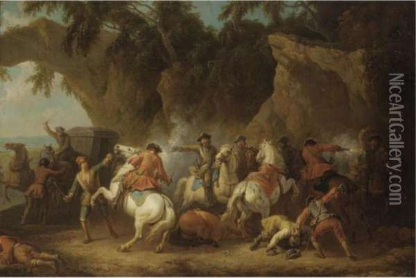 A Military Convoy Being Ambushed By Bandits Oil Painting - Pieter van Bloemen