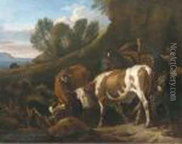 A Peasant With Cows, A Mule, Sheep, A Donkey And A Turkey In Anitalianate Landscape Oil Painting - Pieter van Bloemen