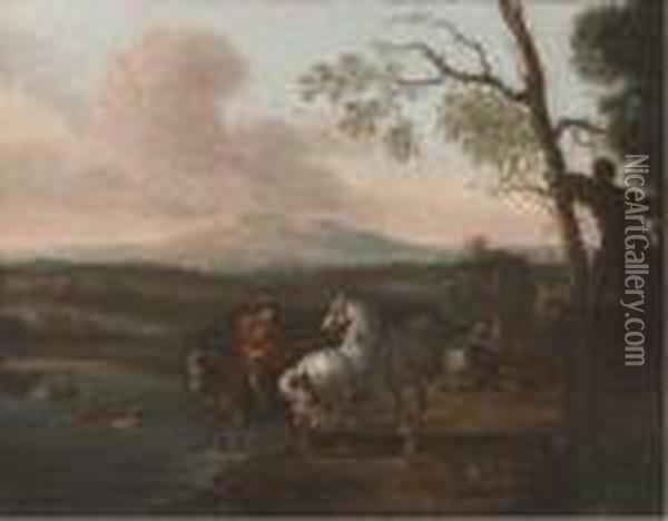 A Riverside Landscape With  Bathers And A Horseman; And Figures Athalt Before A Military Encampment Oil Painting - Pieter van Bloemen