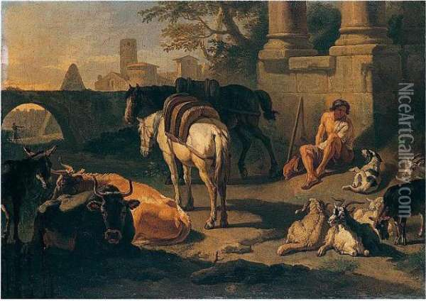 A Drover And Pack-animals Resting Among Roman Ruins Oil Painting - Pieter van Bloemen