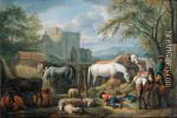 Cavalry Man Halting At A  Refreshment Place For Horses Outside Atown Gate, A Shepherd Boy Asleep  In The Foreground; And Cowherdsand Shepherds Fording Cattle, Sheep And  Goat In A Mountainouslandscape Oil Painting - Pieter van Bloemen