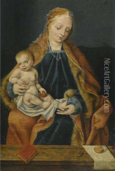 The Madonna And Child With An Orange Oil Painting - Joos Van Cleve