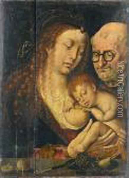 The Holy Family Oil Painting - Joos Van Cleve