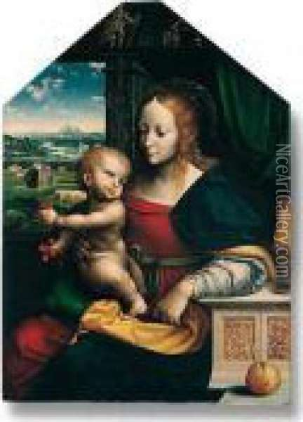 ``the Madonna Of The Cherries':  The Madonna And Child Seated At A Window, The Christ Child Holding  Bunches Of Cherries, An Apple In The Foreground, With An Extensive  Landscape Beyond Illustrating The Miracle Of The Corn Oil Painting - Joos Van Cleve