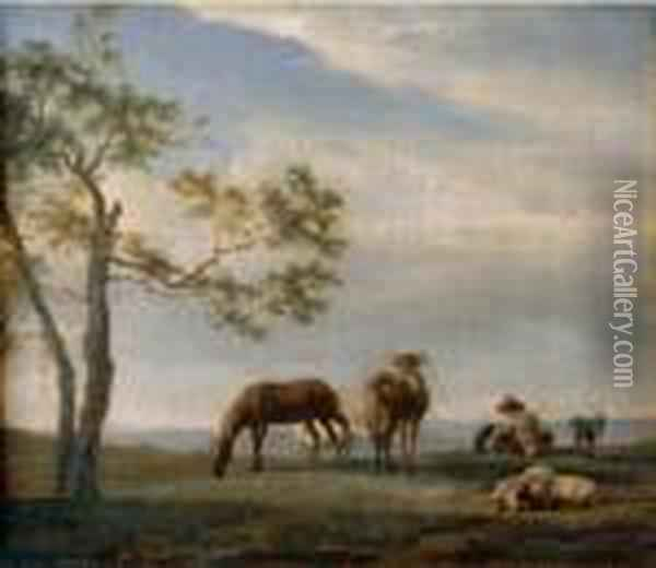 An Extensive Landscape With A Herdsman With Cattle, Goats And Ahorse Oil Painting - Adrian Van De Velde