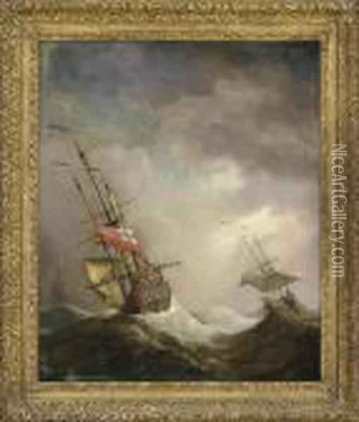 An English Ship At Sea Running In A Gale Oil Painting - Willem van de, the Elder Velde