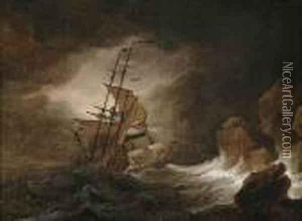 Two Three-master In Rough Sea At A Rocky Coast. Oil Painting - Willem van de, the Elder Velde