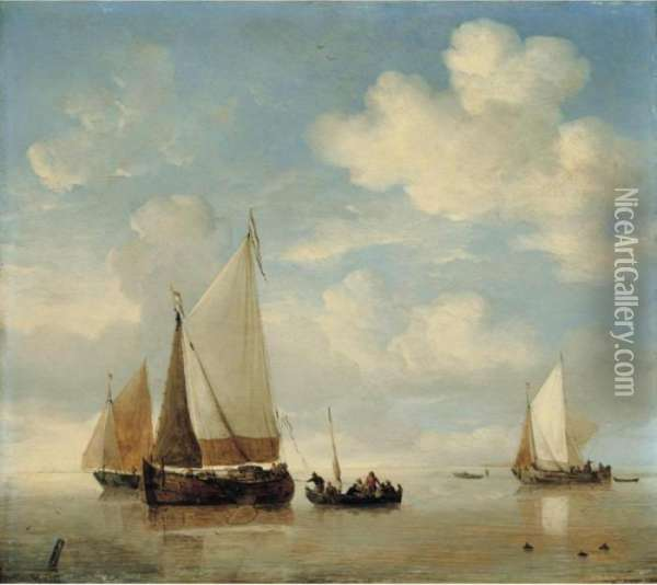 Calm - Dutch Smalschips And A Rowing Boat In A Light Air Oil Painting - Willem van de, the Elder Velde