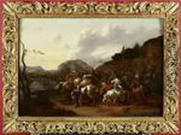 A Cavalry Skirmish Oil Painting - Adam Frans van der Meulen