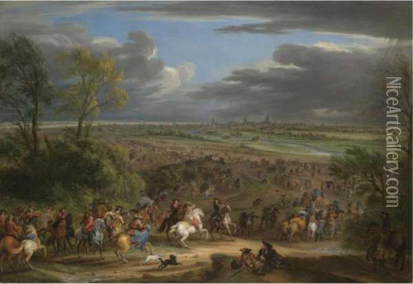 The French Army Advancing Towards Courtrai Oil Painting - Adam Frans van der Meulen