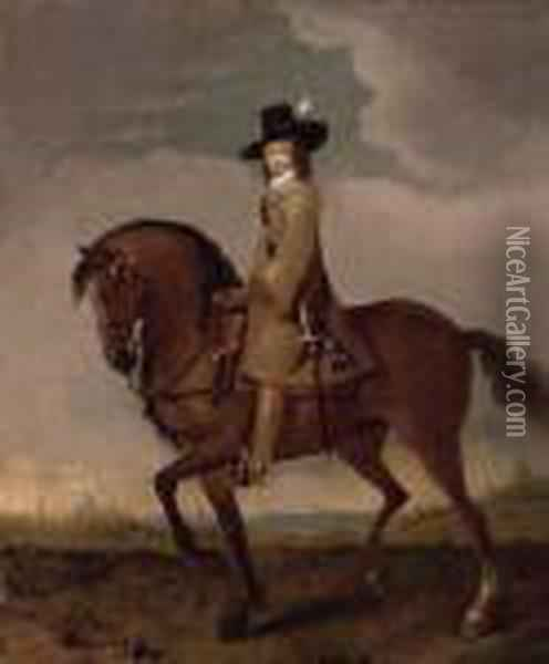 Equestrian Portrait Of James  Scott, 1st Duke Of Monmouth And Buccleuch (1649-1685), Small  Full-length, In A Landscape, Oxford Beyond Oil Painting - Adam Frans van der Meulen