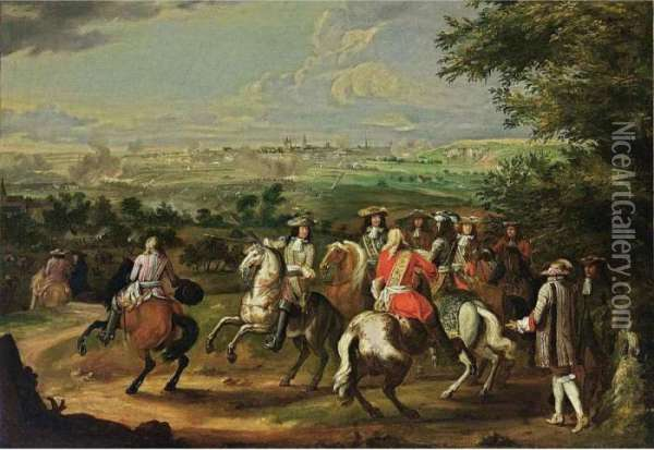 The Arrival Of Louis Xiv At The Siege Of Maastricht Oil Painting - Adam Frans van der Meulen