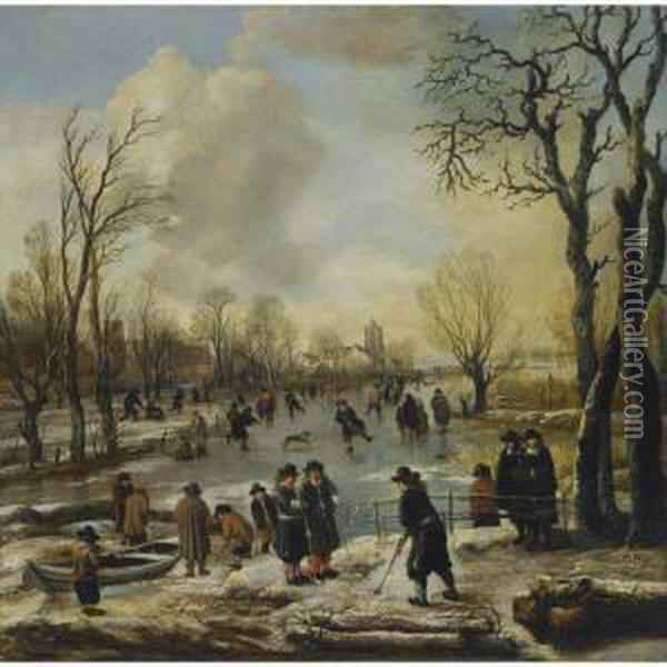 A Winter Landscape With  Villagers Skating And Playing Kolf On A Frozen Canal, A Village Beyond Oil Painting - Aert van der Neer