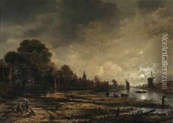 A Moonlit River Landscape With Figures Conversing On The Outskirts Of A Town Oil Painting - Aert van der Neer