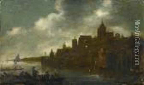 Town In The Moonlight Oil Painting - Aert van der Neer