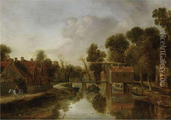 A Village With A Drawbridge Over
