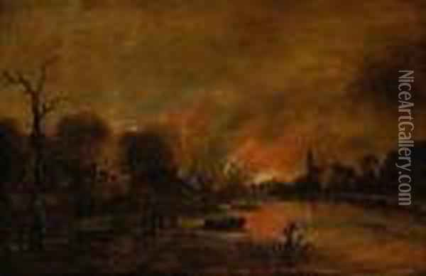 A Moonlit River Landscape With Figures Quenching A Fire In A Townbeyond Oil Painting - Aert van der Neer