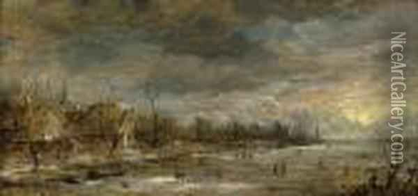 A Winter River Landscape With Skaters Oil Painting - Aert van der Neer