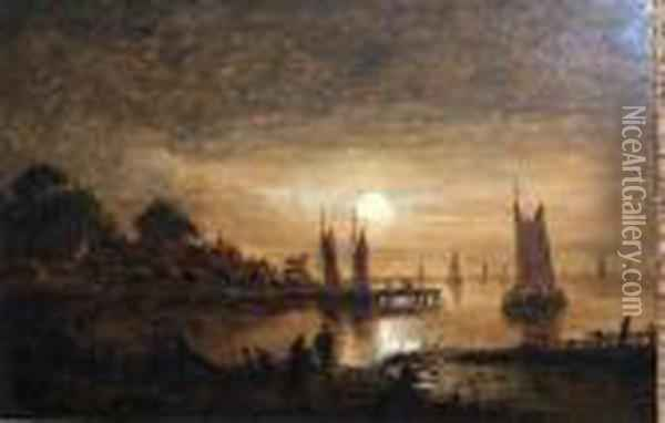 Estuary By Moonlight Oil Painting - Aert van der Neer