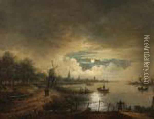 Landscape By Nightbeneath A  Heavily Clouded Sky And Full Moon. On The Right A Riverscene With  Fishermen, On The Left A Town And A Windmill Oil Painting - Aert van der Neer
