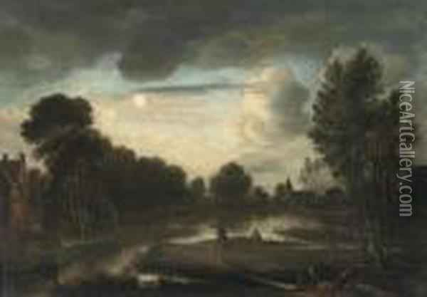 A Moonlit River Landscape With Three Figures Near A Bridge And Achurch In The Distance Oil Painting - Aert van der Neer