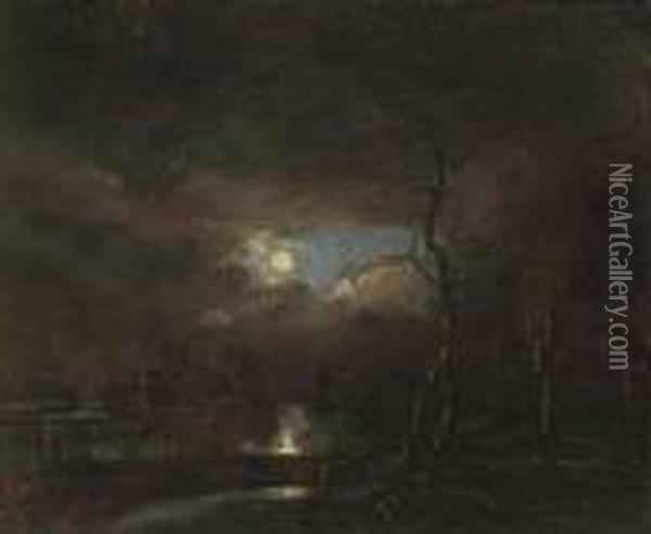 A Moonlit River Landscape With A Village In The Distance Oil Painting - Aert van der Neer
