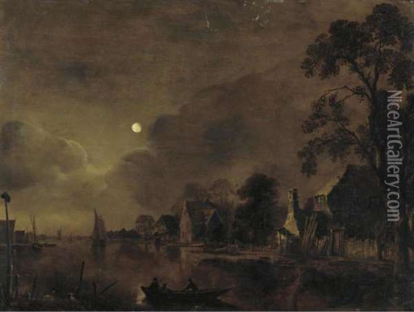 A Moonlit Landscape With Two Men On A Raft In The Foreground Oil Painting - Aert van der Neer