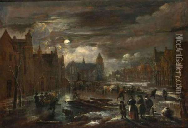A Winter Landscape With Figures  And Horse-drawn Sleighs On A Frozen Canal In A Town By Moonlight, With A  Triple-arched Bridge And A Church In The Background Oil Painting - Aert van der Neer