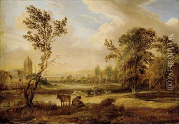 A Landscape With A Milkmaid And Cows, A Church Beyond Oil Painting - Aert van der Neer