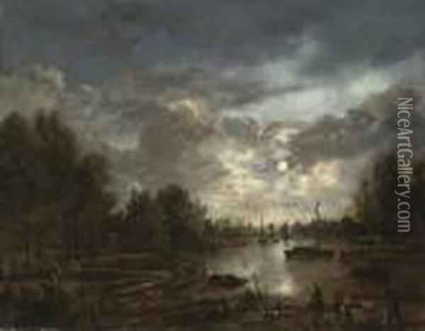 A Moonlit River Landscape With Figures And Shipping, A Townbeyond Oil Painting - Aert van der Neer