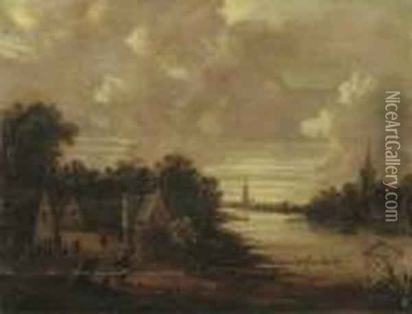 A Moonlit River Landscape With Figures On A Track, A Church In Thedistance Oil Painting - Aert van der Neer