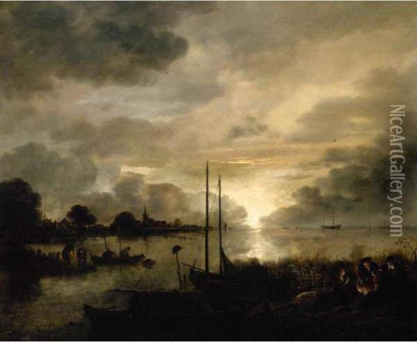 Estuary Landscape By Moonlight  With Figures Gathered Around A Camp-fire In The  Foreground Oil Painting - Aert van der Neer