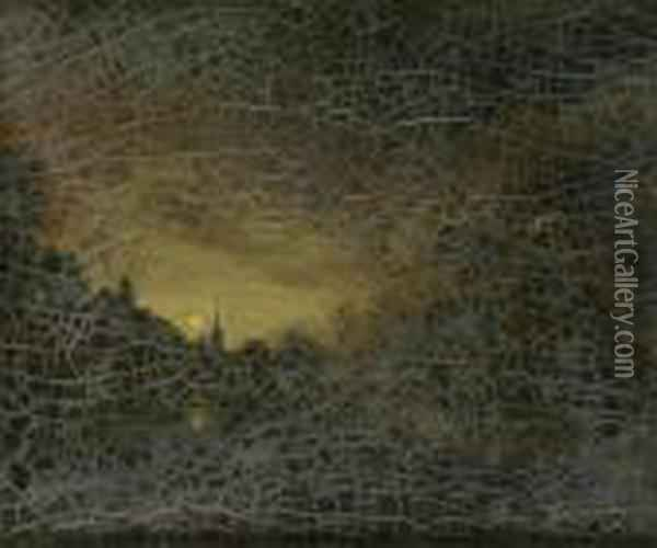 A River Landscape Bymoonlight, With Distant Church Oil Painting - Aert van der Neer