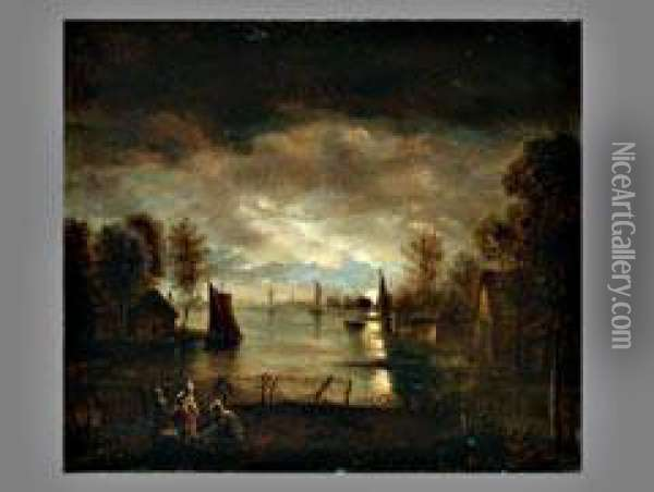 Hollandische Seelandschaft Oil Painting - Aert van der Neer