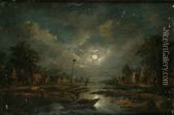 A Moonlit River Landscape With Fishermen In A Boat, A Village Beyond Oil Painting - Aert van der Neer