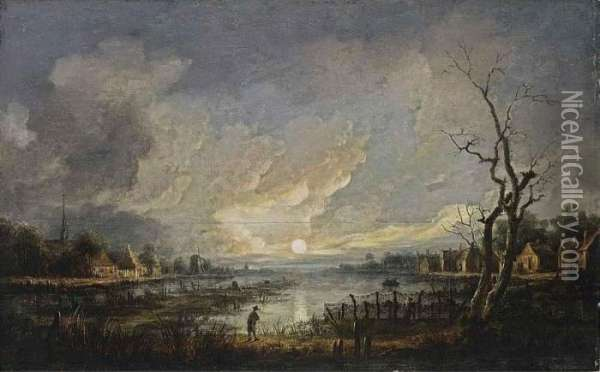 A Moonlit River Landscape With A  Man Leaning On His Walking Stick And Fishermen In A Rowing Boat Near A  Village Oil Painting - Aert van der Neer