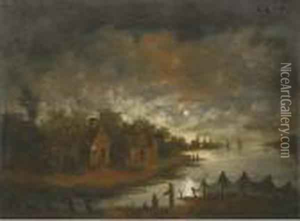 A Moonlit River Landscape With Fishermen By The Bank Oil Painting - Aert van der Neer