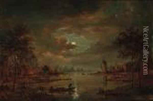 A Moonlit River Landscape With Figures In A Boat, A Windmillbeyond Oil Painting - Aert van der Neer