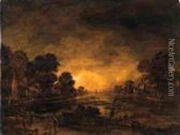 A Moonlit Riverlandscape With A  Driver And Cattle On A Track, Acastle And A Village Beyond Oil Painting - Aert van der Neer