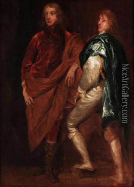 Double Portrait Of Lord John  Stuart With His Brother, Lord Bernard Stuart, Later Earl Of Lichfield Oil Painting - Sir Anthony Van Dyck