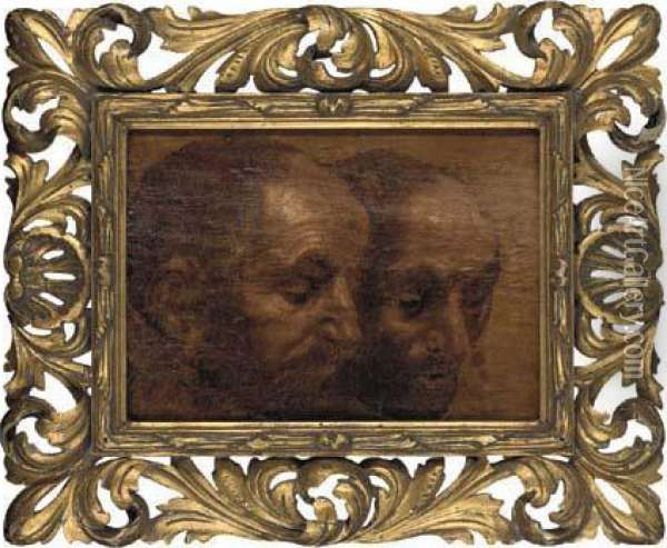 A Study Of Two Heads Oil Painting - Sir Anthony Van Dyck