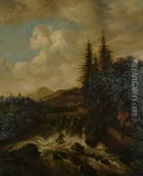 Commentaries On The Sublime -  Cottage At The Foot Of The Waterfall; At The Foot Of The Waterfall. Oil Painting - Allart Van Everdingen